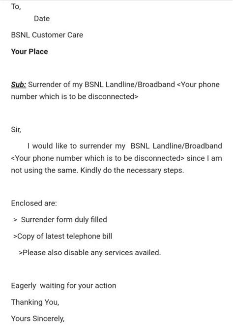 write  perfect letter  disconnection  bsnl