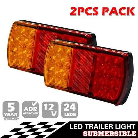 clear led trailer tail lights pair 12v led tail light stop brake lights waterproof boat