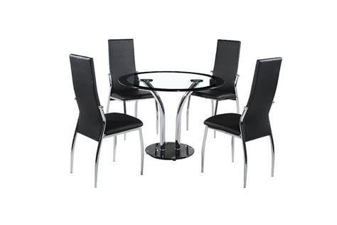 clear glass dining table and 4 chairs round 100cm clear black glass dining table and 4 chairs