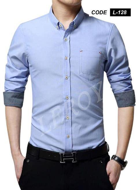 jual beli kemeja pria lengan panjang warna biru xxxl
