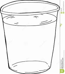 Outlined Plastic Cup Of Water Stock Illustration - Image ...
