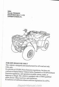 2004 Honda Trx350fe Fourtrax 350 4x4 Es Atv Owners Manual