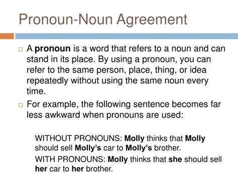 pronoun noun agreement powerpoint  id