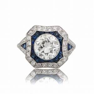 167ct estate diamond and sapphire engagement ring for Diamond and sapphire wedding ring