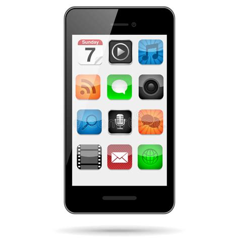 Smartphone With App Icons Stock Vector Illustration Of