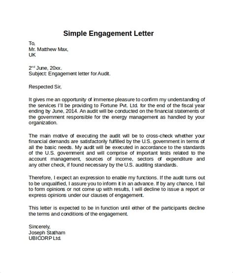 sample engagement letters   sample templates