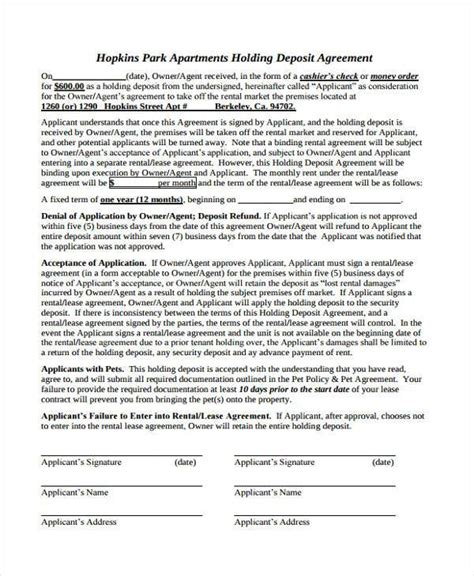 Apartment Deposit by Free 8 Holding Deposit Agreement Form Sles In Sle
