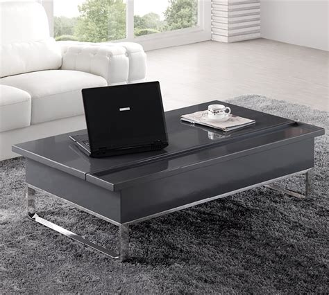 Nuro Laptop High Gloss Coffee Table In Black With Storoage