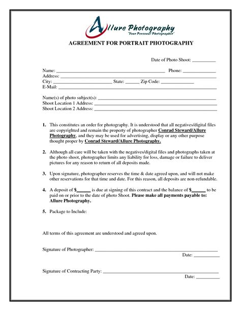 Photography Contract Template Portrait Photography Contract Template Free Printable