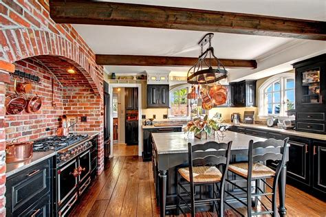 kitchen interiors designs rustic kitchen with ceramic tile exposed beam simple 1830