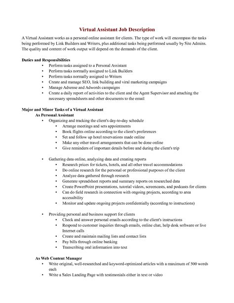 resume personal assistant duties doc 8001035 personal assistant description best personal assistant resume exle 85