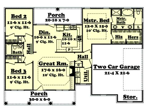energy efficient homes floor plans southern style house plan 3 beds 2 baths 1500 sq ft plan