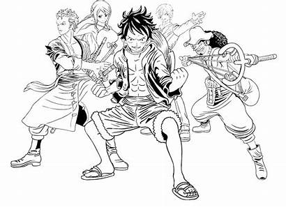 Piece Coloring Pages Luffy Drawing Easy Anime
