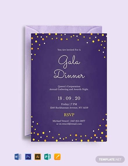 gala dinner night invitation template word psd