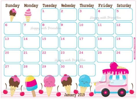 items similar calendar january ice cream planner printable