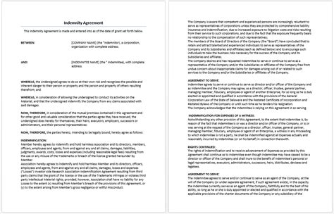 indemnity agreement template word templates