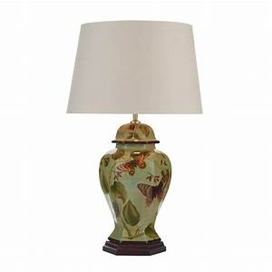 contemporary pale green ceramic table lamp with butterfly With floor lamp with patterned shade