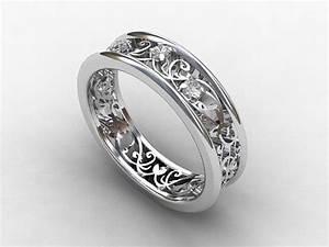 White Gold Filigree Diamond Rings Wedding Promise