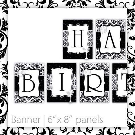 printable happy birthday banner black  white
