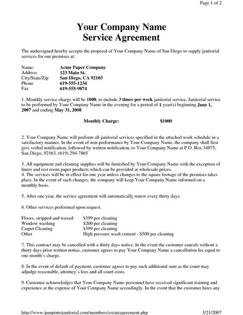 janitorial service agreement  hgh sample