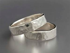 Simple hammered sterling silver wedding bands set of two 5mm for Silver band wedding rings
