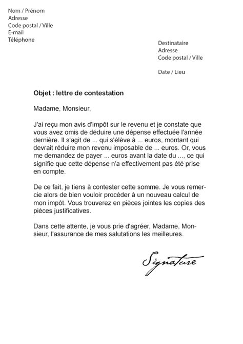 lettre contestation impot