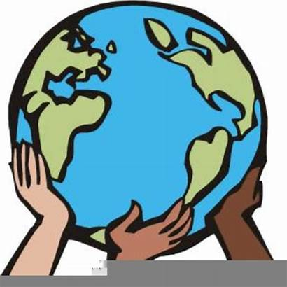 Earth Hands Clipart Holding Clip Drawings Clker