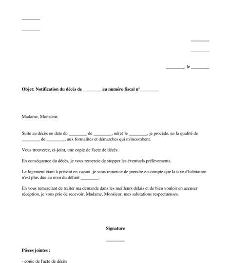 modele de lettre rattachement au foyer fiscal lettre de d 233 claration de d 233 c 232 s au centre des imp 244 ts