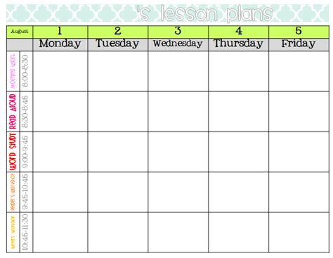 Free Editable Weekly Lesson Plan Template by Weekly Lesson Plan Format Images Frompo 1