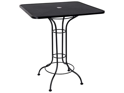 woodard micro mesh wrought iron 36 square bar height table