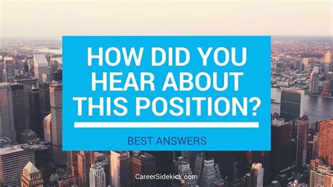 How Did You Hear by How To Answer Quot How Did You Hear About This Position