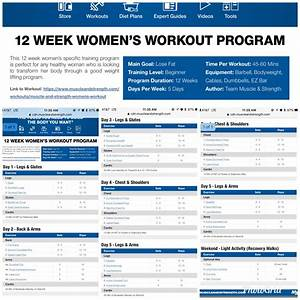 Women U2019s 12 Week Body Building Workout Program