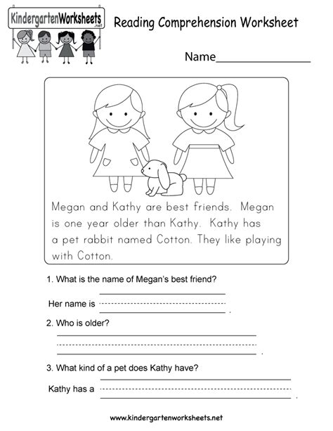 Reading Comprehension Worksheet  Free Kindergarten English Worksheet For Kids