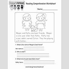 Reading Comprehension Worksheet  Free Kindergarten English Worksheet For Kids