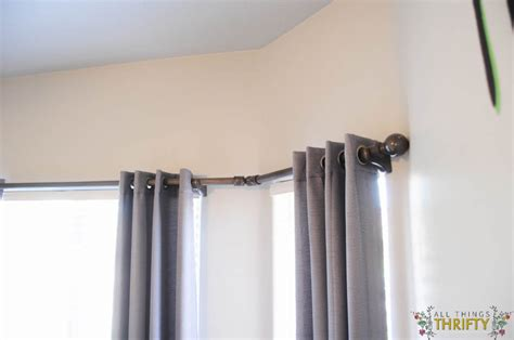 curtain rod for bay window diy bay window curtain rod