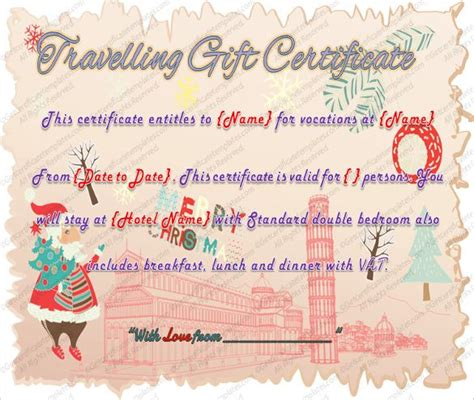 printable travel gift certificate template word  psd