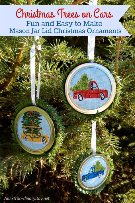 fun  easy   mason jar lid christmas ornaments