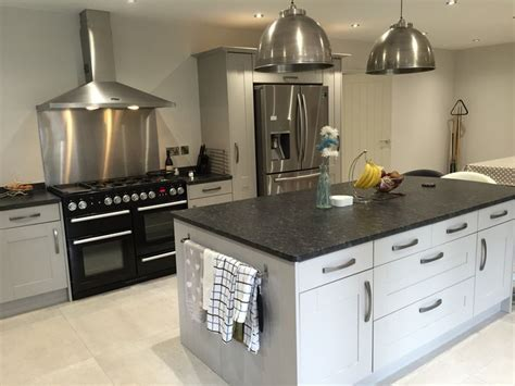 Grey shaker Island with leathered granite stainless steel