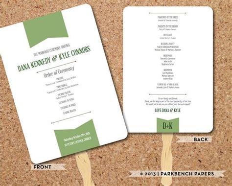 wedding program kelly green banner fan diy editable