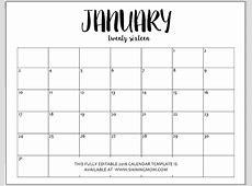 January 2017 Cute Calendar Template Calendar Template 2018