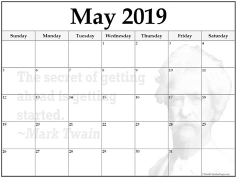 24+ May 2019 Printable Quote Calendars
