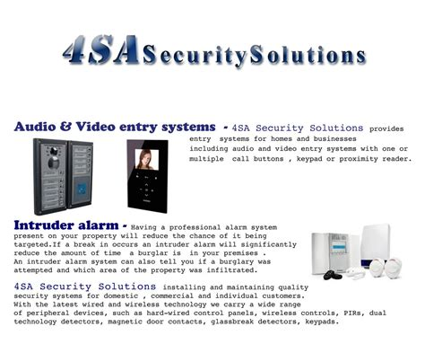 4sa Security Solutions Security System Installer In Chigwell