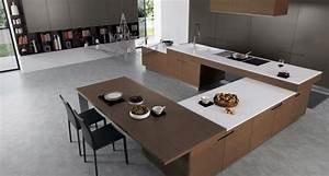 Ilot Central Bois : cuisine en bois moderne et blanche en 33 exemples ~ Teatrodelosmanantiales.com Idées de Décoration