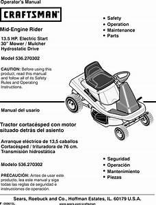 Craftsman 536270302 User Manual Rear Engine Lawn Mower