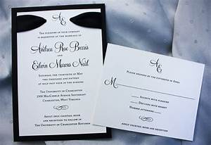 formal black matted wedding invitations with monogram With formal wedding invitations with ribbon
