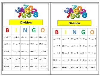 grade division bingo game  common core