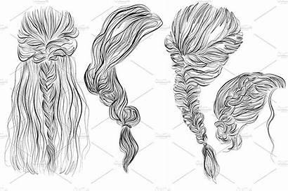 Hairstyles Draw Braids Creativemarket Graphic Romantic