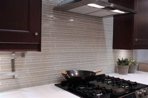 light taupe linear glass mosaic tile backsplash modern