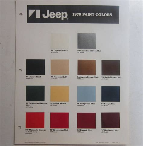 1979 jeep wagoneer cj j10 j20 nos color chart