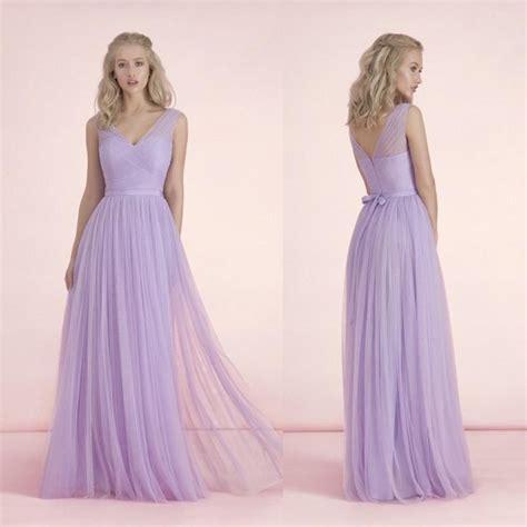 Long Light Purple Bridesmaid  Ee  Dresses Ee   V Neck Bow Knot